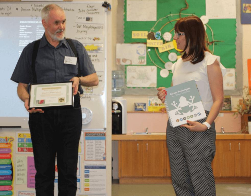 Paul Vale presenting Miriam Trenton with award. Photo Credit Bella Smith