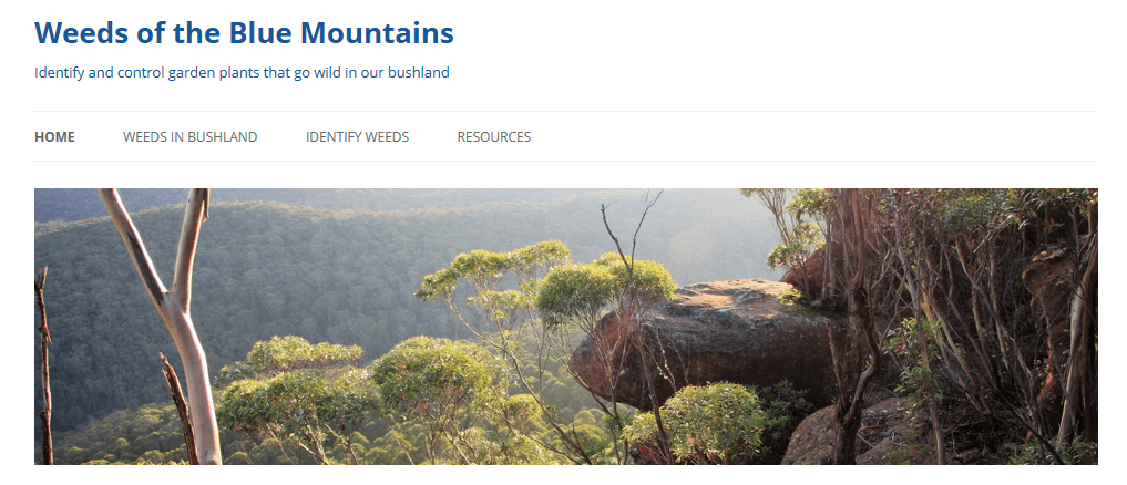 Weeds of the Blue Mountains website screen shot